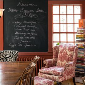 Menu and seating in the kitchen at our Kennebunkport bed and breakfast