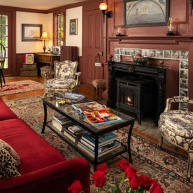 Living room at one of the best places to stay in Kennebunkport, Maine