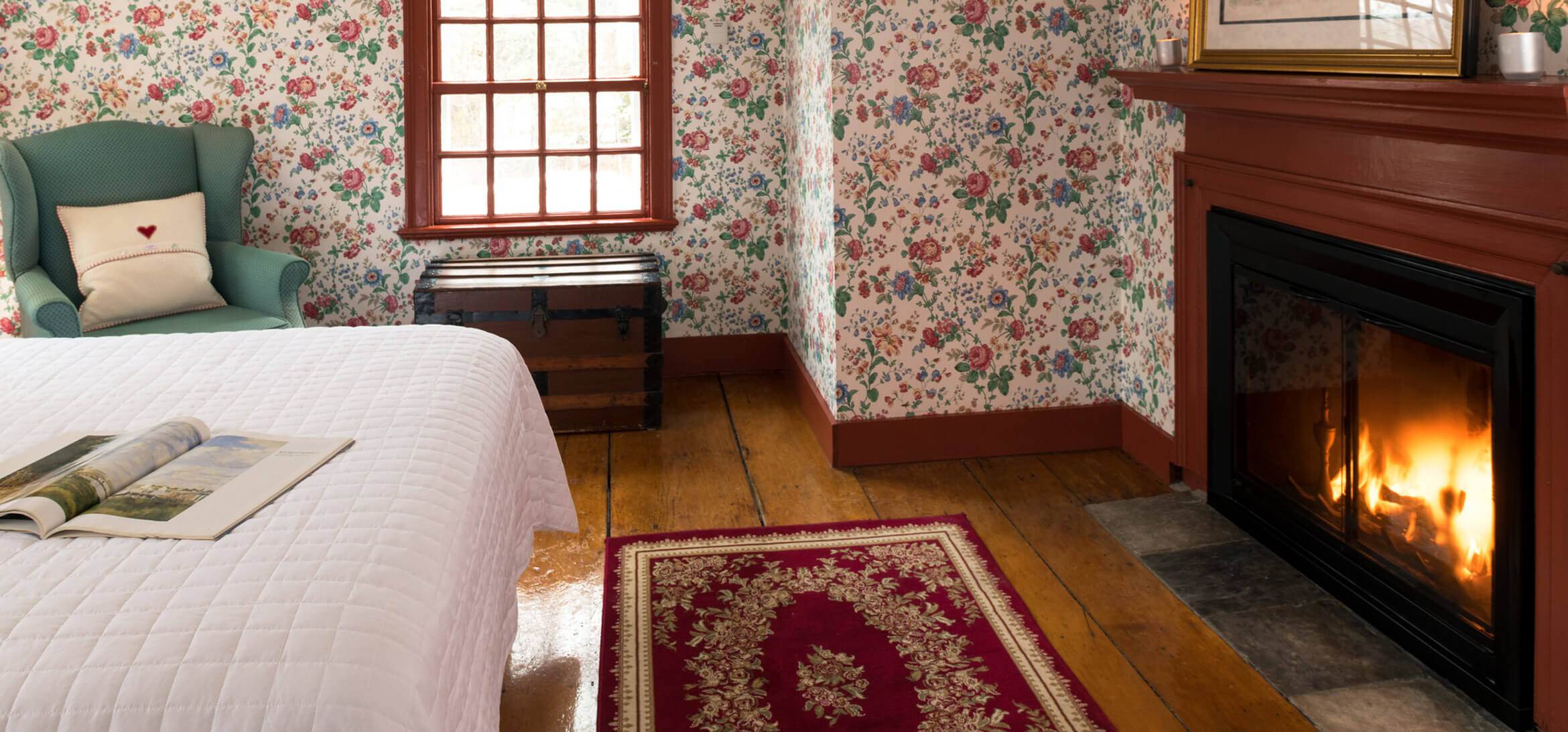 Kingsbury Room fireplace at our romantic Kennebunkport B&B