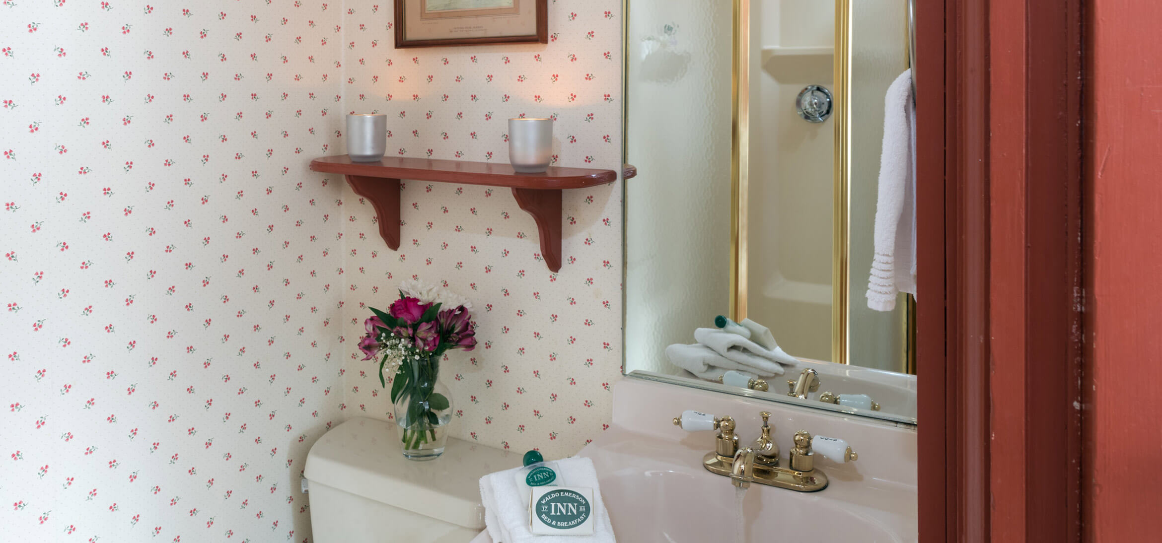 The bathroom in the Kingsbury Room at our B&B in Kennebunkport, Maine