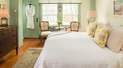 Lyman Room bed and sitting area at our Kennebunkport, Maine B&B