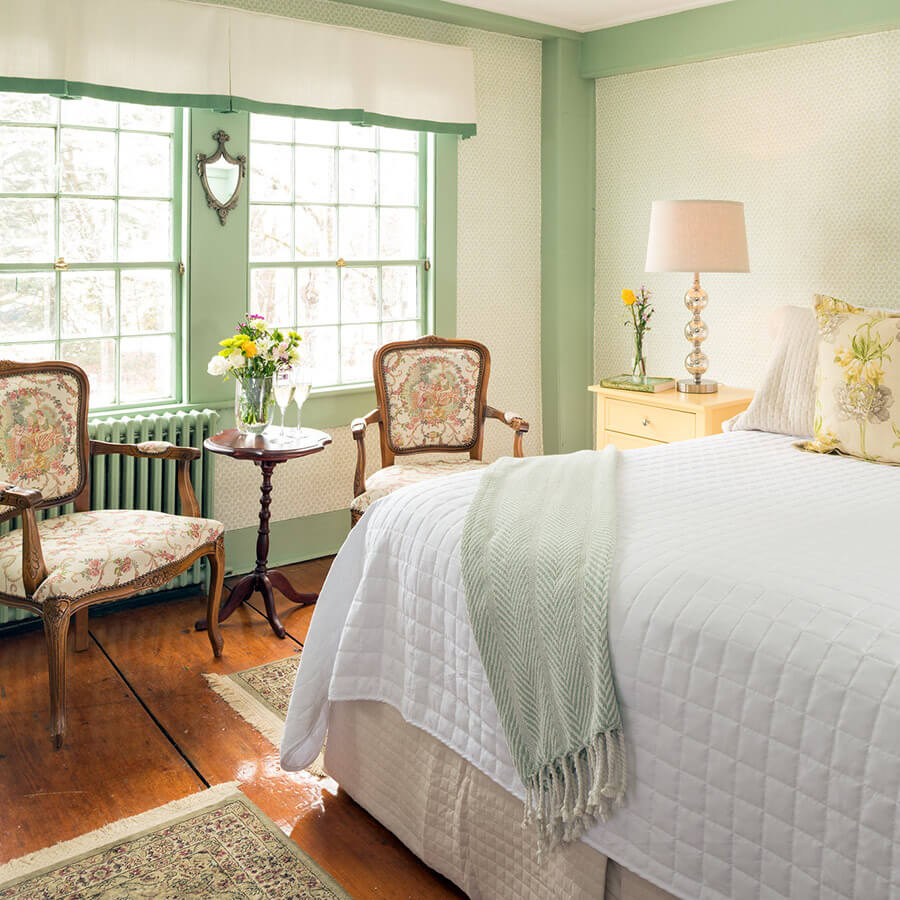 Lyman Room bed and sitting area at our Kennebunkport B&B