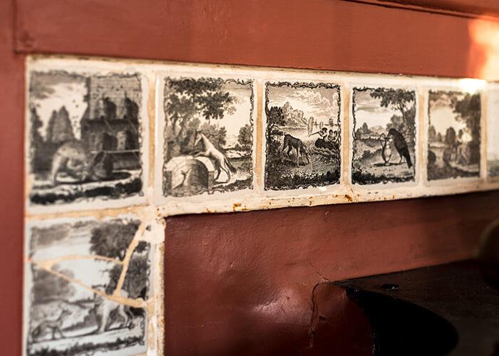 Hand painted Wedgewood tiles at our Kennebunkport B&B