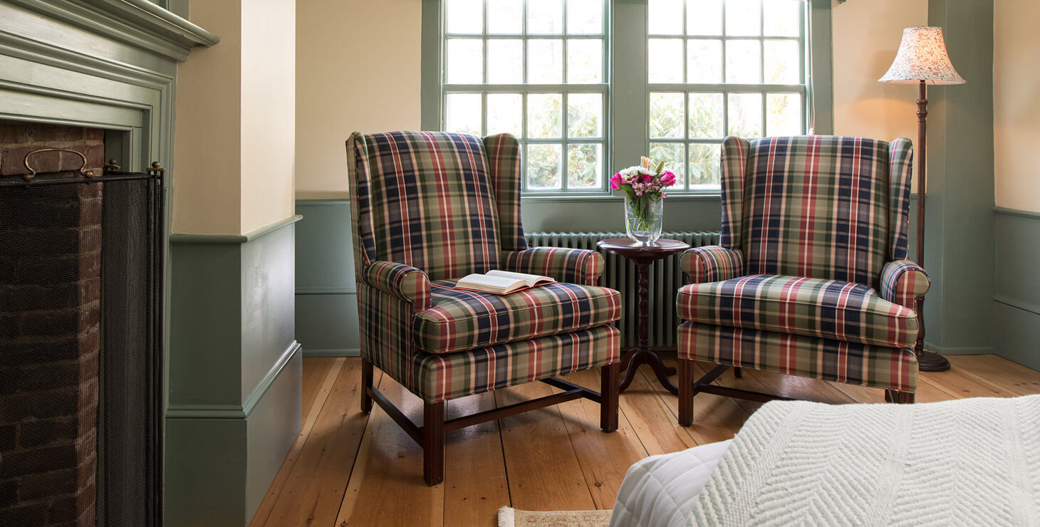 Chairs in Ralph's Library room at our Kennebunkport bed and breakfast