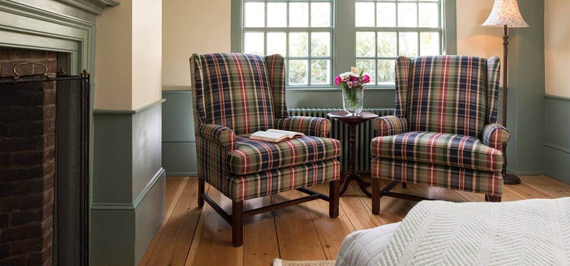 Ralph's Library sitting area at our Kennebunkport bed and breakfast