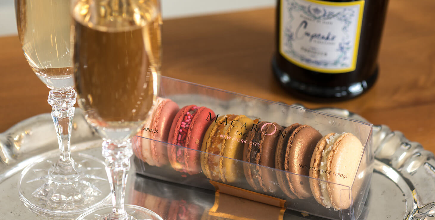 Macaroons and wine at our romantic Kennebunkport B&B