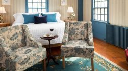 Sweet Haven Room bed and chairs at our B&B in Kennebunkport