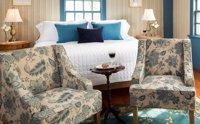 Sweet Haven Room bed and chairs at our Kennebunkport B&B