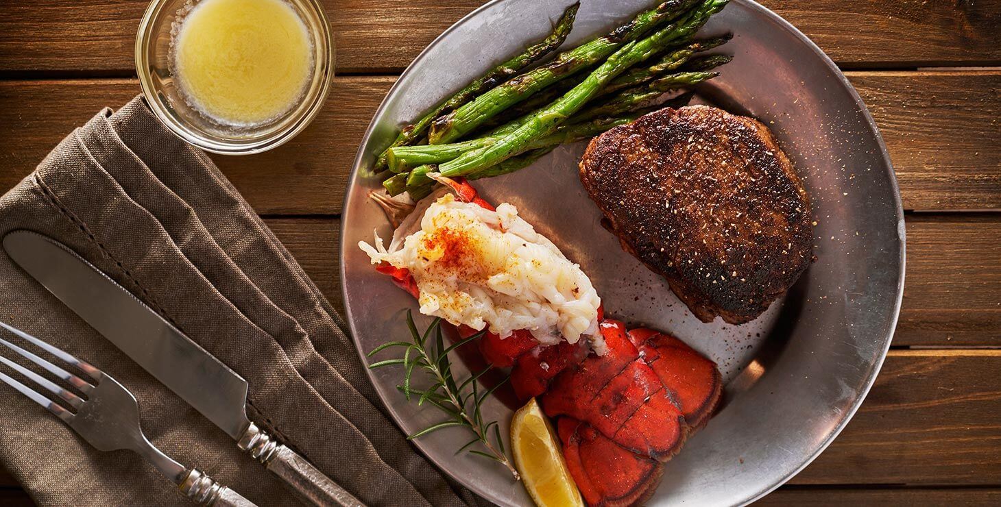 Steak and lobster dinner at a restaurant in Kennebunkport