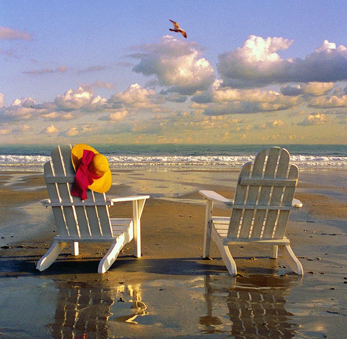 adorondak chairs on a Kennebunkport beach