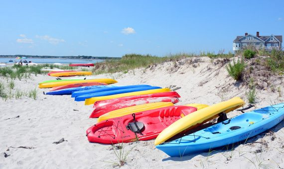 Kayaks on a Kennebunkport Beach