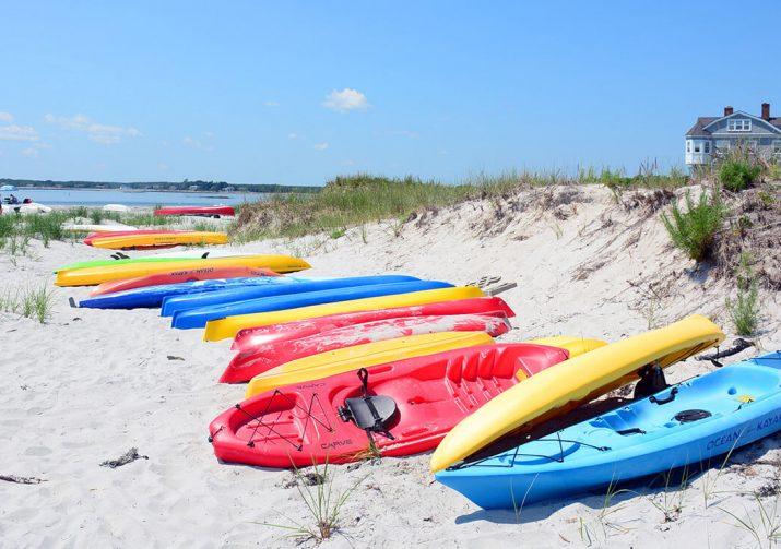 Kayaks on a Kennebunkport Beach
