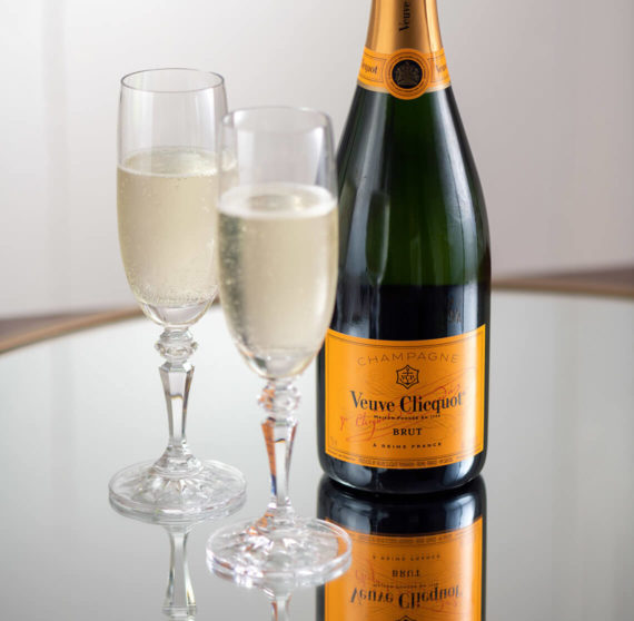 Bottle of Veuve Clicquot champagne